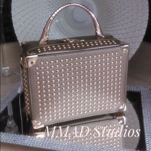 New Gold Studded Pewter Handbag With Gold Zipper.